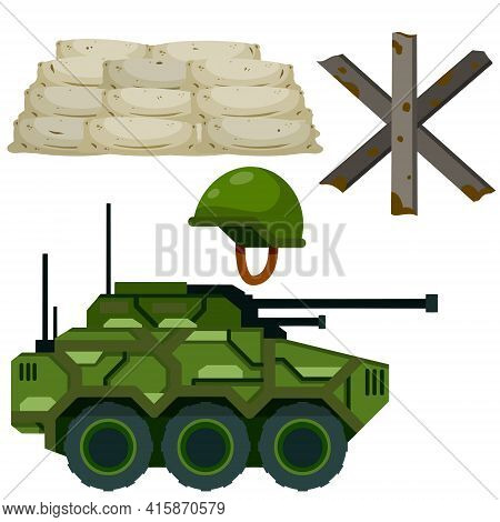 Military Facility. Army Base. Barricade, Firing Point. Shelter And Tank. Modern Weapons And Equipmen