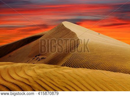 Cerro Blanco Sand Dune Desert Evening Sunset Colored With Beautiful Clouds, One Of The Highest Dunes