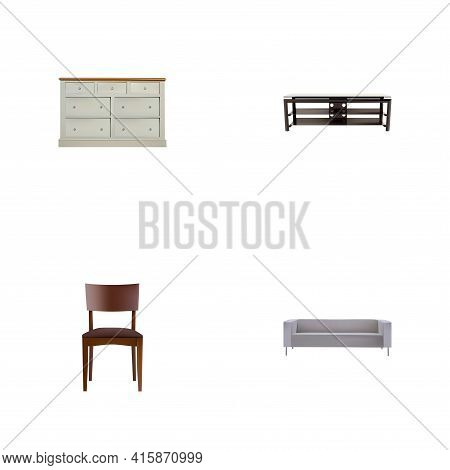 Set Of Furniture Realistic Symbols With Stool, Wardrobe, Sofa And Other Icons For Your Web Mobile Ap