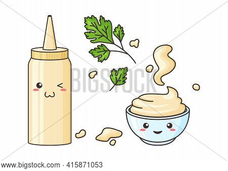 Mayonnaise Kawaii, Vector Funny Character Bottle And Bowl. Sauce Pack In Plastic Container. Spots Ma