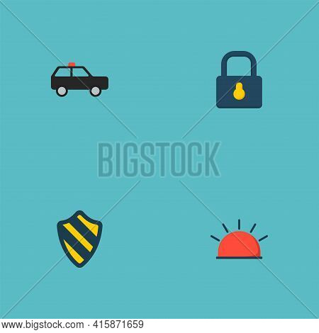 Set Of Procuring Icons Flat Style Symbols With Protection, Alarm, Suv And Other Icons For Your Web M