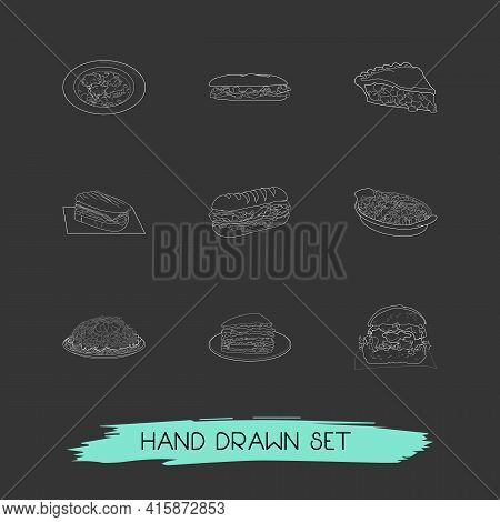Set Of Culinary Icons Line Style Symbols With North Carolina, Ohio, Tennessee And Other Icons For Yo