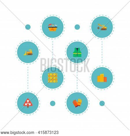 Set Of Industrial Icons Flat Style Symbols With Bulldozer, Demolition Crane, Tool In Box And Other I