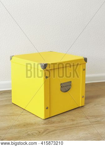 Yellow Folding Storage Box Made Of Durable Cardboard For Storing Papers, Documents, Various Items