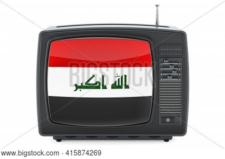 Iraqi Television Concept. Tv Set With Flag Of Iraq. 3d Rendering Isolated On White Background