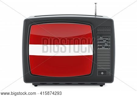 Latvian Television Concept. Tv Set With Flag Of Latvia. 3d Rendering Isolated On White Background