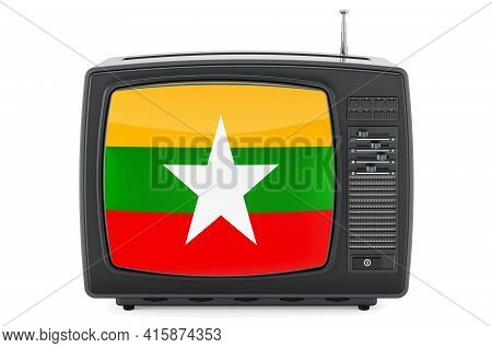 Myanmar Television Concept. Tv Set With Flag Of Myanmar. 3d Rendering Isolated On White Background