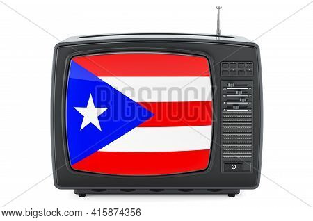 Puerto Rican Television Concept. Tv Set With Flag Of Puerto Rico. 3d Rendering Isolated On White Bac