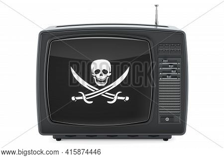 Tv Set With Piracy Flag, 3d Rendering Isolated On White Background