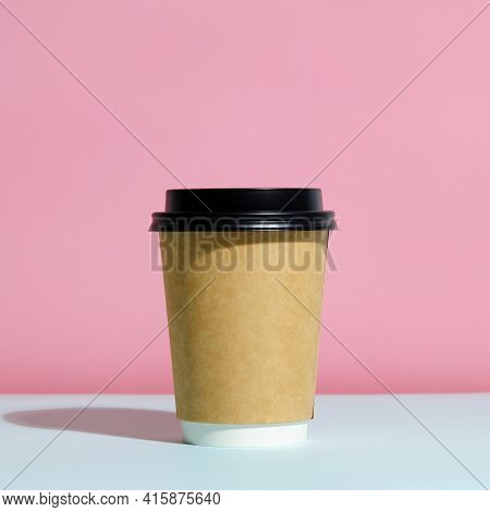 Paper Coffee Container With Lid On Trendy Minimal Coloured Background. Coffee To Go Container Mockup