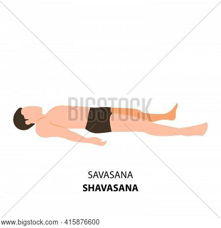 Man Practicing Yoga Pose Isolated Vector Illustration. Man Lying On The Ground In Shavasana Corpse P