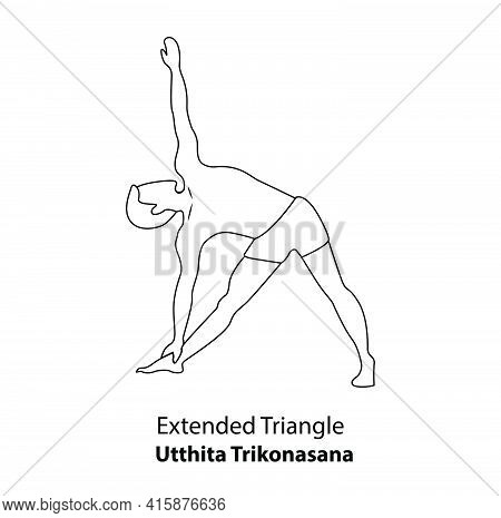 Man Practicing Yoga Pose Isolated Outline Illustration. Man Standing In Extended Triangle Or Utthita