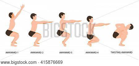 Awkward Poses Set. Man Practicing Yoga Vector Illustration. Man Doing Awkward Yoga Pose Or Utkatasan
