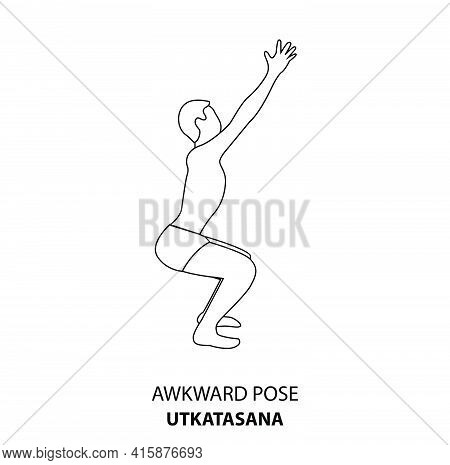Man Practicing Yoga Pose Isolated Outline Illustration. Man Standing In Awkward Pose Or Utkatasana P