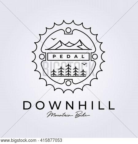Downhill Bike Mountain Biker Logo Icon Symbol Sign Vector Illustration Design Line Art Icon Logo