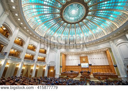 Bucharest, Romania - March 24, 2021: Working Meeting Of The Deputies In The Grand Plenary Hall Of Th