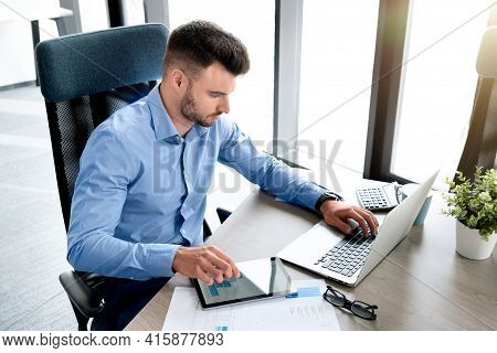 Businessman, Accountant Working In Office. Bookkeeping Concept