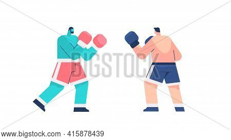 Two Professional Boxers Fighting On Arena Sportsmen Boxing Healthy Lifestyle Sport Concept