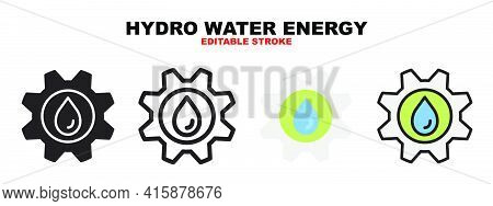 Hydro Water Energy Icon Set With Different Styles. Icons Designed In Filled, Outline, Flat, Glyph An