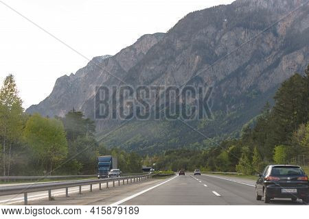 The A2 Highway. Austria. Spring 2019. Highway Through Austria From Slovakia To Italy. Photo From The