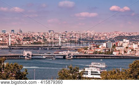 Istanbul, Turkey - 09 07 2020: View Along Golden Horn From Topkapi Palace In Istanbul, Turkey With F