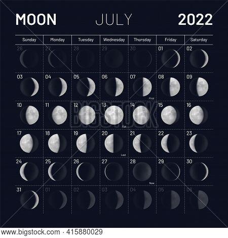 July Lunar Calendar 2022 Dark Night Sky Backdrop