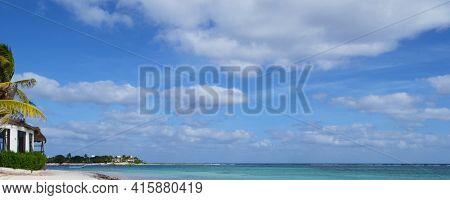 Panorama of a Tropical beach near Playa del Carmen, on Mexicos, Yucatan Peninsula,