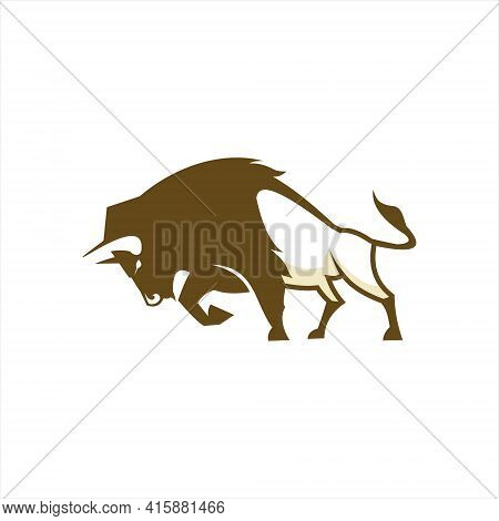 Cartoon Bison Logo Animal Illustration And Wildlife Fauna Vector For Nature Or Cattle Template Ideas