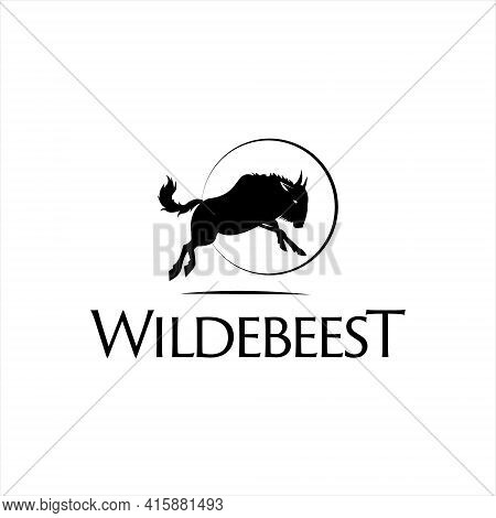 Wildebeest Silhouette Logo Animal Vector Template Simple Black Color Fauna Element For Graphic Desig