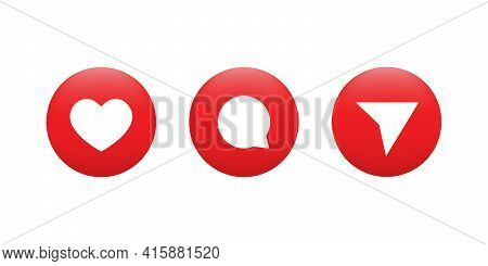 Like, Comment, And Share. Modern 3d Icon Set Of Social Media. Vector Illustration