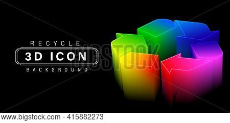 3d Or Three Dimensional Recycle Icon Colors, Set Of Shapes Arrows Recycled Symbolic Rainbow, With Is