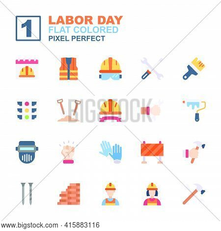 Icon Set Labor Day Made With Colored Flat Technique, Contains A Labor Day, Calendar, Labor Man And W