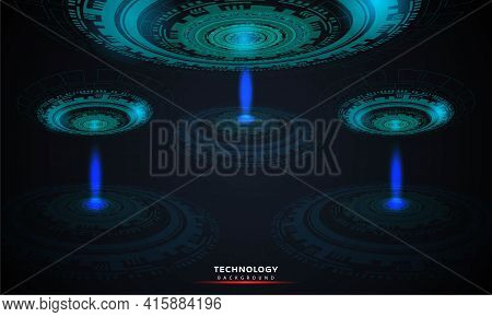 Abstract Background Of Round Futuristic Technology With Hud Elements Circle Digital Futuristic Blue