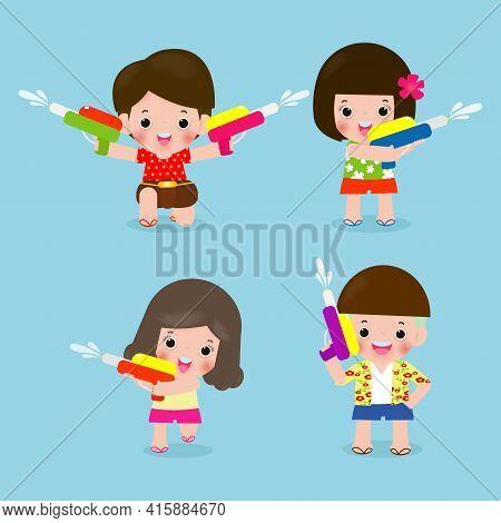 Songkran Festival Set Of Kids Holding Water Gun Enjoy Splashing Water In Songkran Festival, Thailand