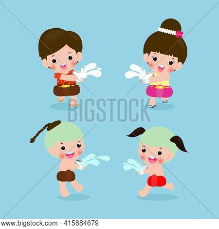 Songkran Festival, Thailand Travel Concept, Set Of Kids Enjoy Splashing Water In Songkran Festival,
