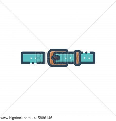 Color Illustration Icon For Belt Buckle Waistband Garment