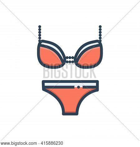 Color Illustration Icon For Lingerie  Lingerie  Underwear Gymnastics Swimwear