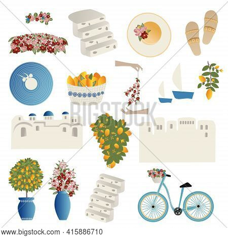 Clipart, Set Of Vector Illustrations Summer Travel Concept. Abstract Place, Fruits, Flowers And Trav