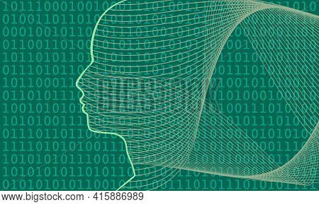 Man Avatar Profile View. Digital Matrix Overlay