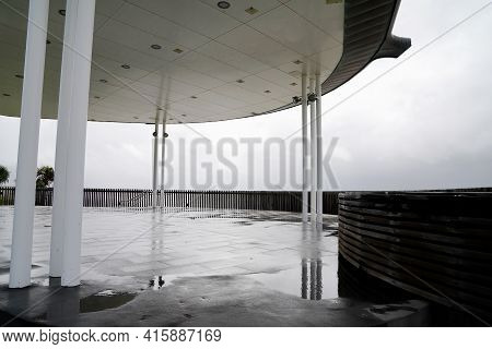 Architectural Detail In A Beachfront Viewing Platform On A Rainy Day