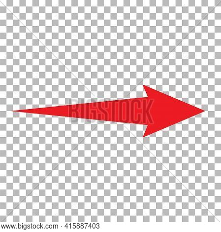 Red Arrow Icon On Transparent Background. Arrow Sign. Flat Style. Red Arrow Symbol.