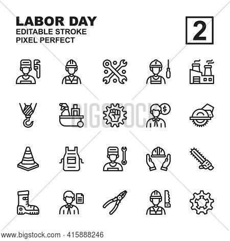 Icon Set Labor Day Made With Outline Black Technique, Contains A Labor Day, Helmet, Labor Man And Wo