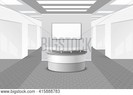 Lobby Or Reception Interior. Office And Furniture, Business Hall, Counter In Hotel, Vector Illustrat