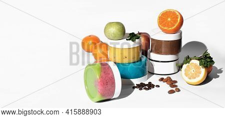 Body Scrubs With Natural Components. Fruits And Nuts As Ingredients For Cosmetic Products. Organic B