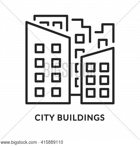 City Buildings Flat Line Icon. Vector Illustration Urban Scape. Downtown Area