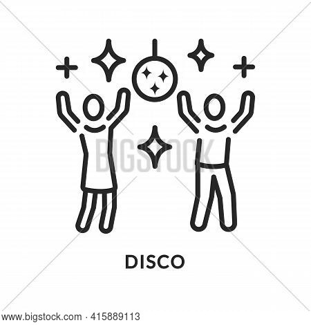Disco Party Flat Line Icon. Vector Illustration Youth Entertainment
