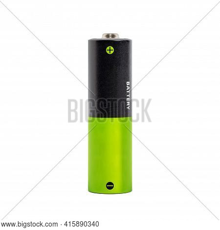 One Aa Battery Isolated On White Background, Closeup Black And Green Alkaline Batteries Isolated On
