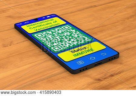 digital passport of vaccination in phone on desk. 3D illustration