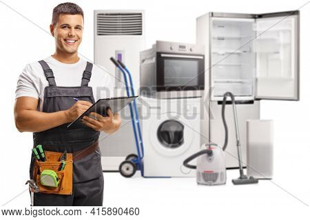 Repairman with home electrical appliances isolated on white background