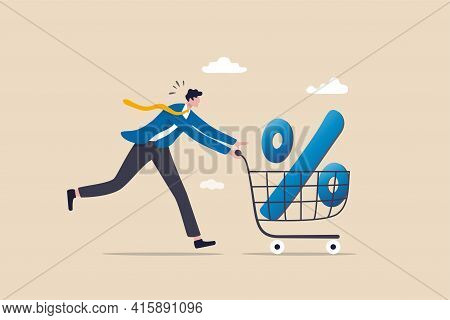 Shopping Discount Percentage, Mortgage Loan Interest Rate Or Investment Earning And Profit Concept,